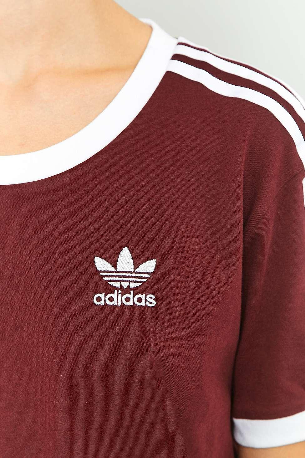 adidas originals 3 stripe maroon tshirt lyst