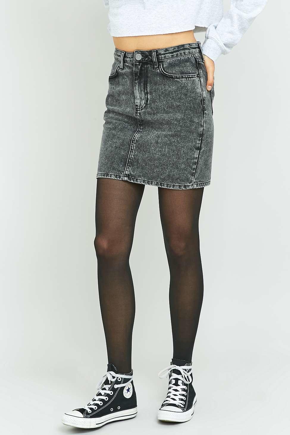 bdg grey denim pencil skirt in gray lyst
