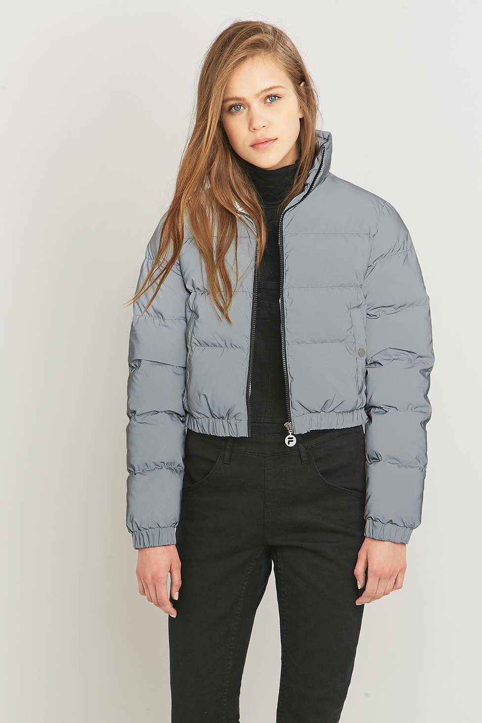 Fila Uo Exclusive Toto Reflective Silver Cropped Puffer