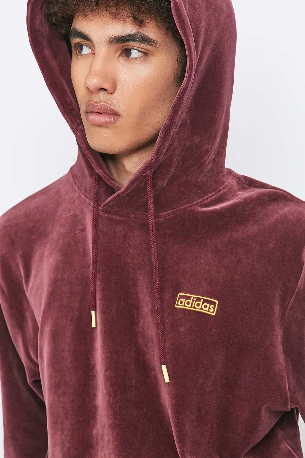 adidas originals maroon velour pullover hoodie for men lyst. Black Bedroom Furniture Sets. Home Design Ideas