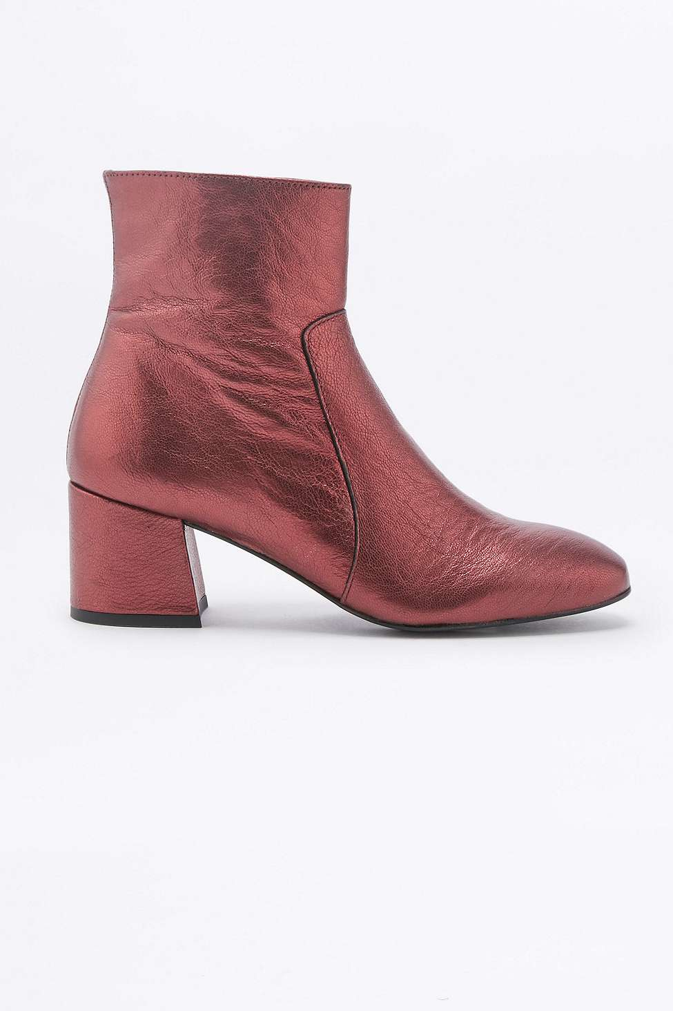 Metallic Leather Boots : Urban outfitters poppy metallic red leather ankle boots lyst