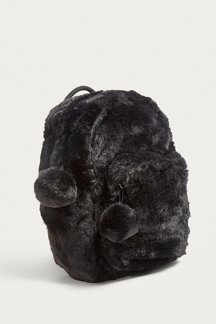d0da1697bfc8 Urban Outfitters Uo Mini Faux Fur Backpack in Black - Lyst
