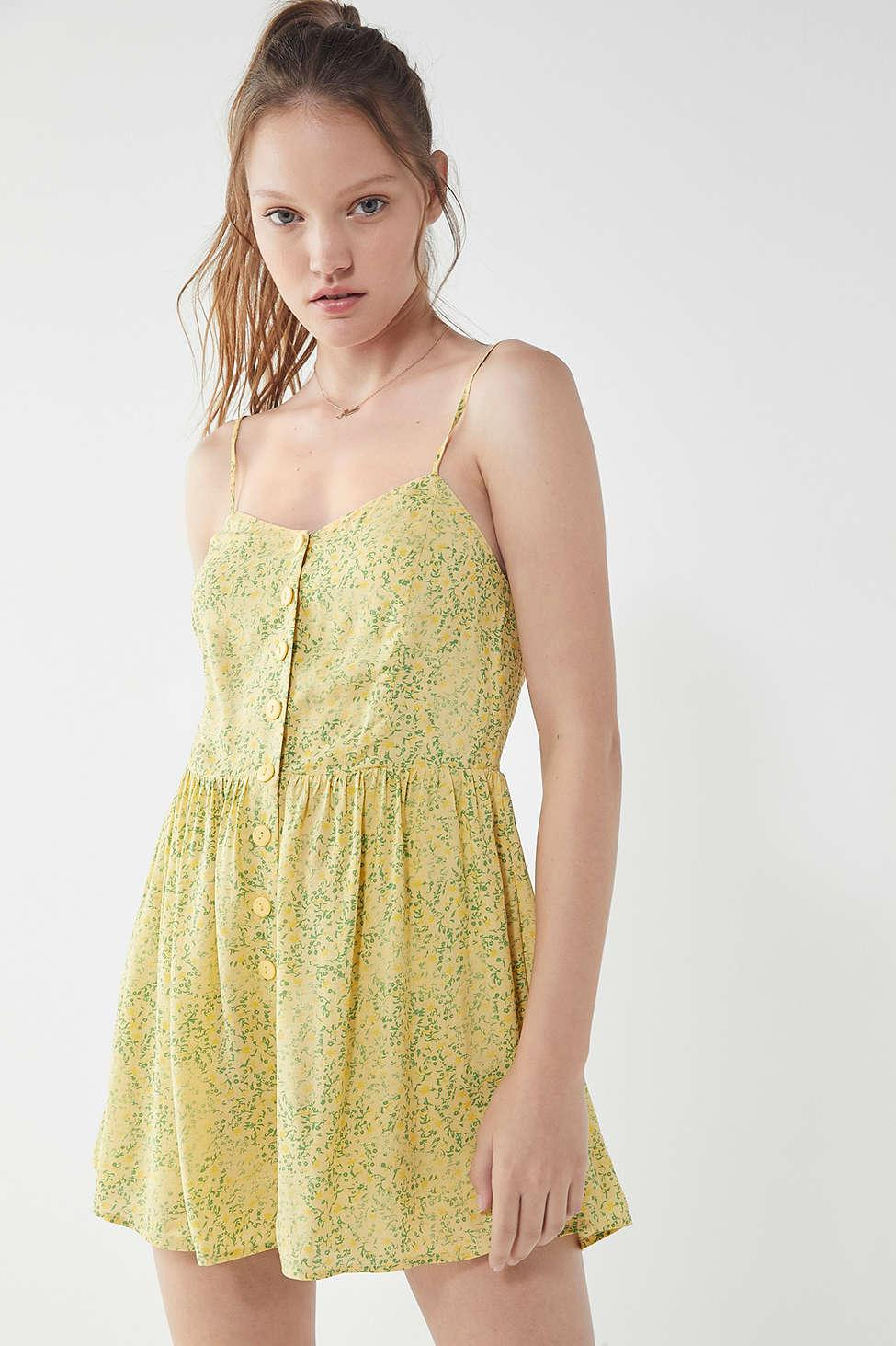 e5130ed3005f Lyst - Urban Outfitters Uo Poppy Sweetheart Button-down Romper in Yellow