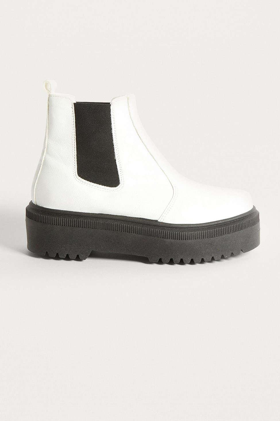 dc35d525651 Lyst - Urban Outfitters Uo Brody White Faux Leather Platform Chelsea ...