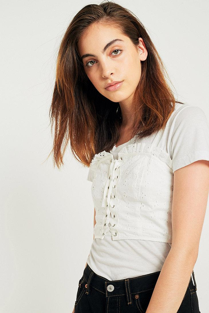 lyst - ecote brittney eyelet lace-up bustier top in white