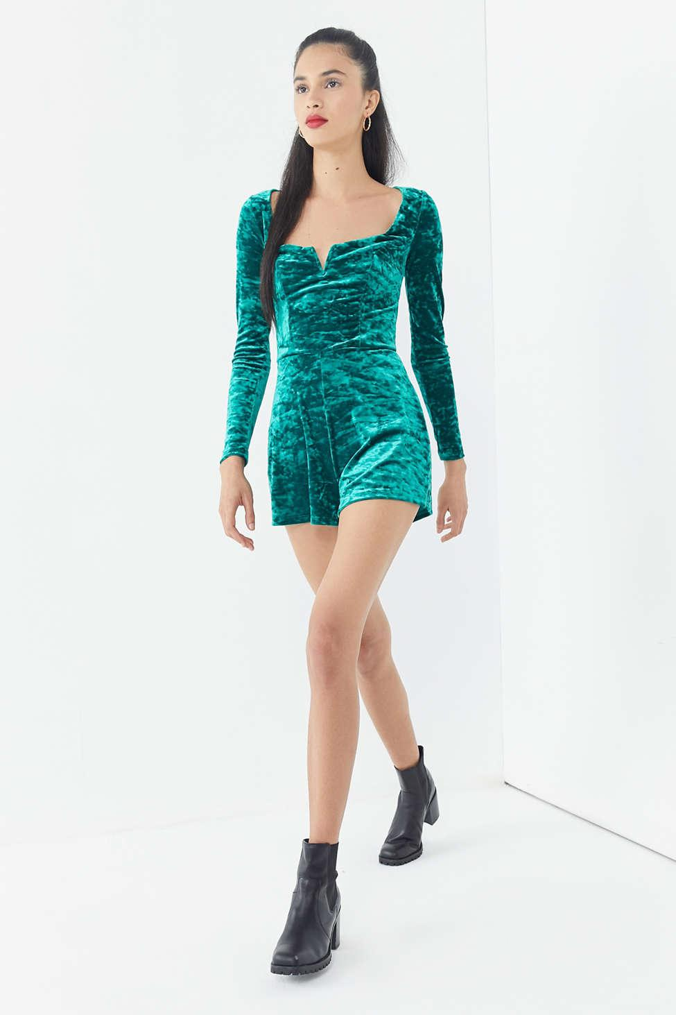 04b4523203d6 Lyst - Urban Outfitters Uo Sasha Crushed Velvet Romper in Green