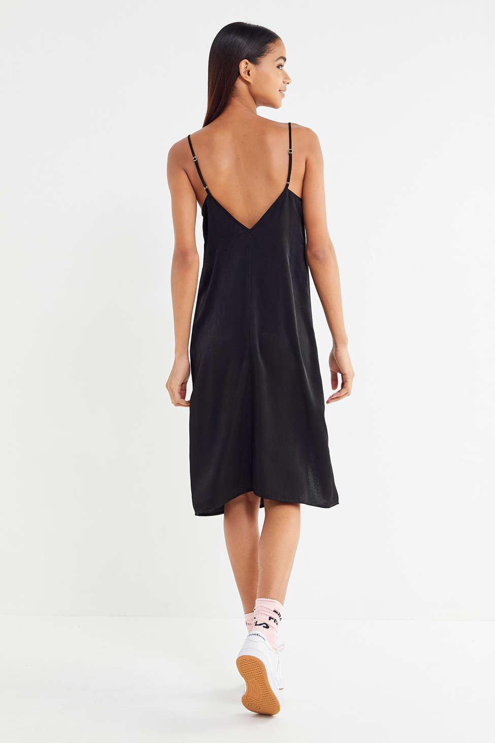 630c987374b1 Out From Under Justine Satin Front-slit Slip Dress in Black - Lyst