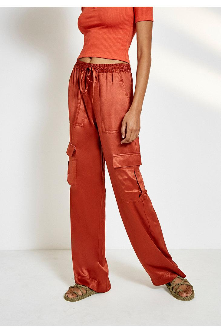 78e84d62e1 Urban Outfitters Uo Satin Cargo Puddle Trousers in Red - Lyst