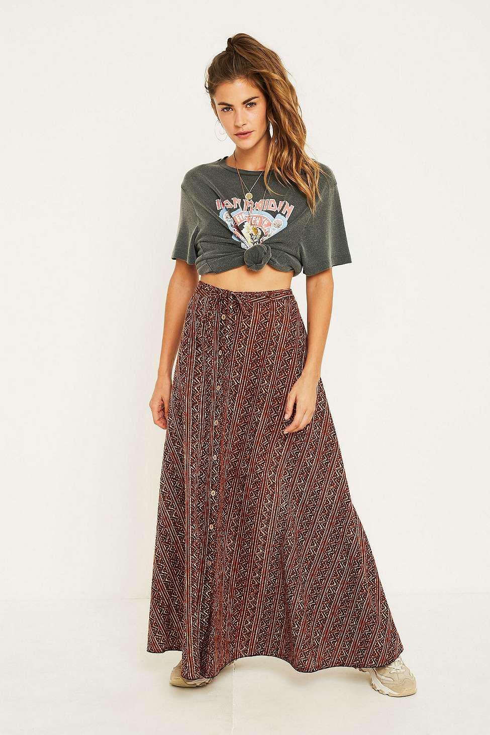 106946b4b Urban Renewal Vintage Remnants Block Print Circle Skirt - Womens S ...