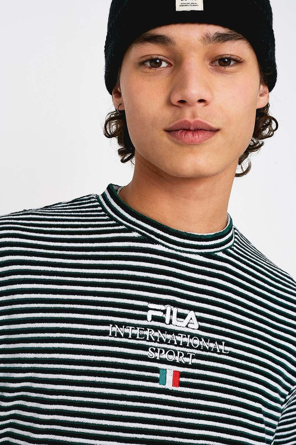 422cf9bba48789 Fila Hill White And Green Striped Towelling T-shirt - Mens S in ...