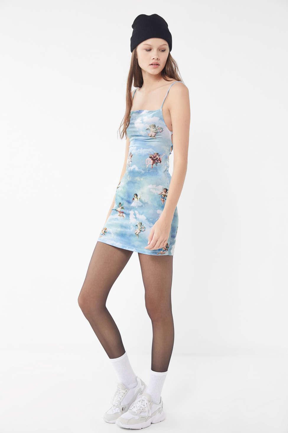 59fc8a01207d Motel Kozue Cherub Velvet Tie-back Mini Dress in Blue - Lyst