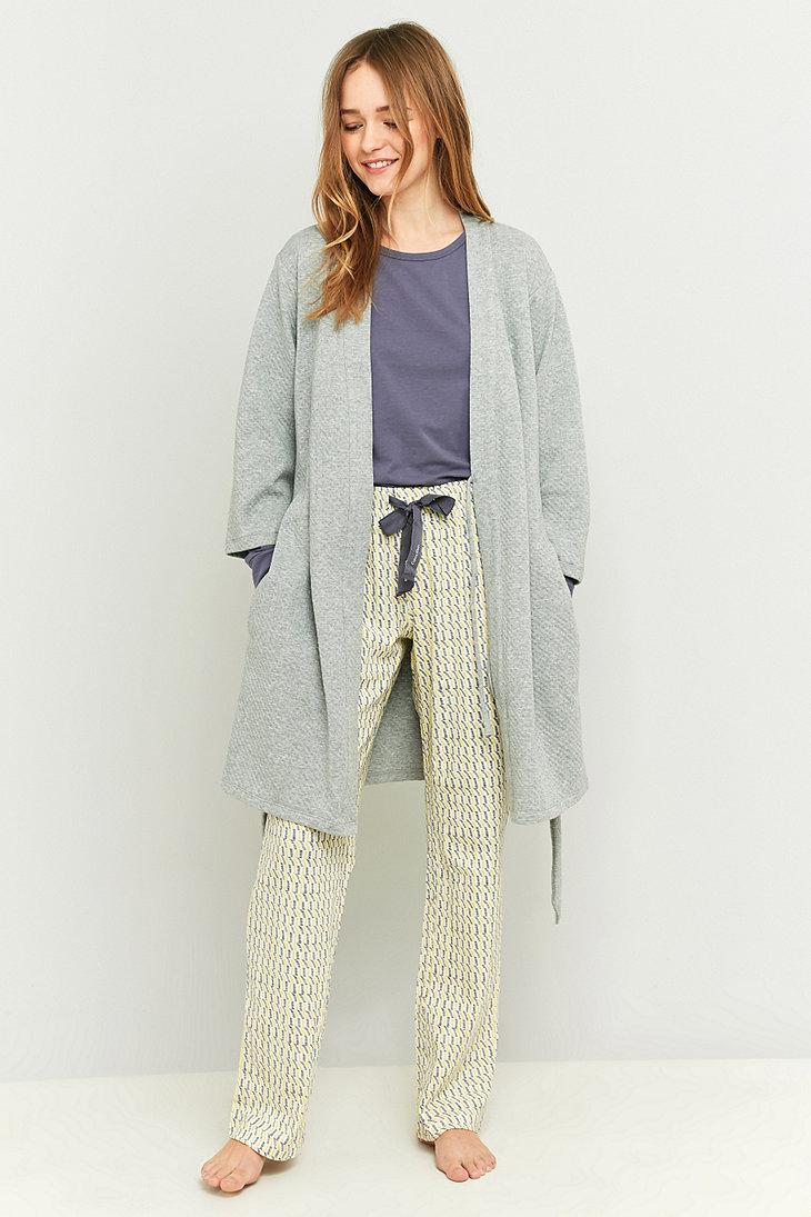 Calvin Klein Grey Quilted Dressing Gown in Gray - Lyst