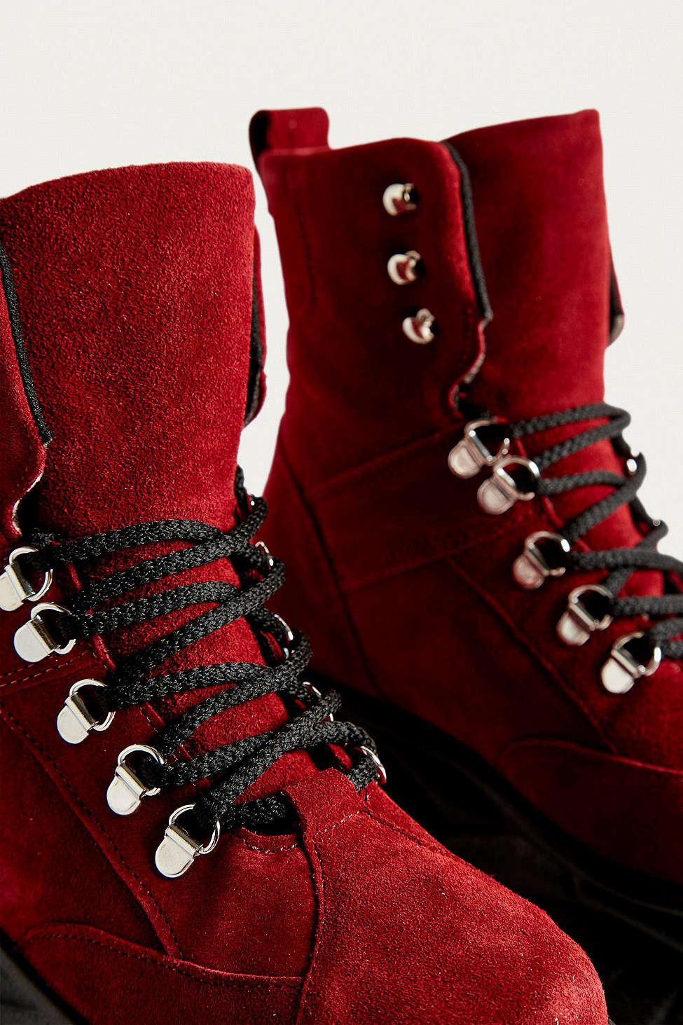 a7a3c87e5a54b9 Lyst - Urban Outfitters Uo Tia Chunky Maroon Platform Boots - Womens ...
