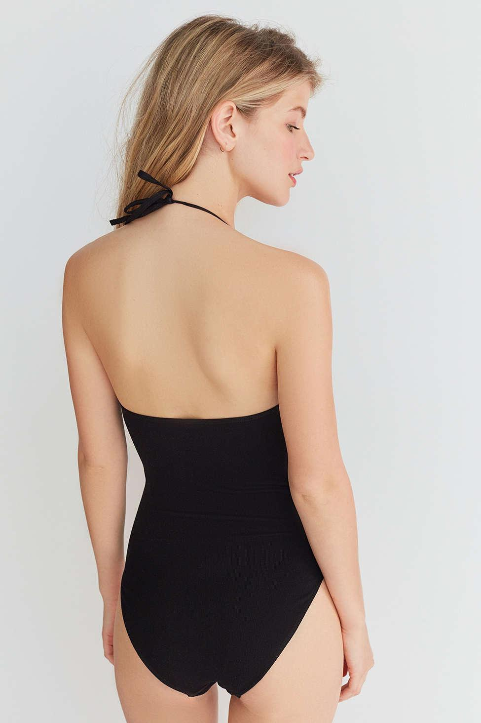 Lyst - Out From Under Bella Halter Bodysuit in Black fe80267a9