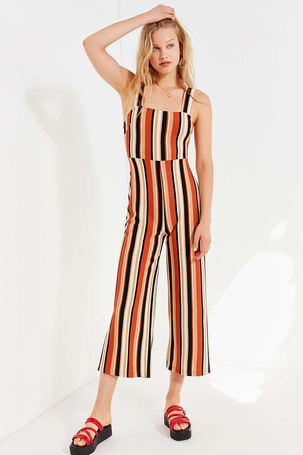 5de71eb9ba55 Lyst - Urban Outfitters Uo Delany Straight-neck Striped Jumpsuit