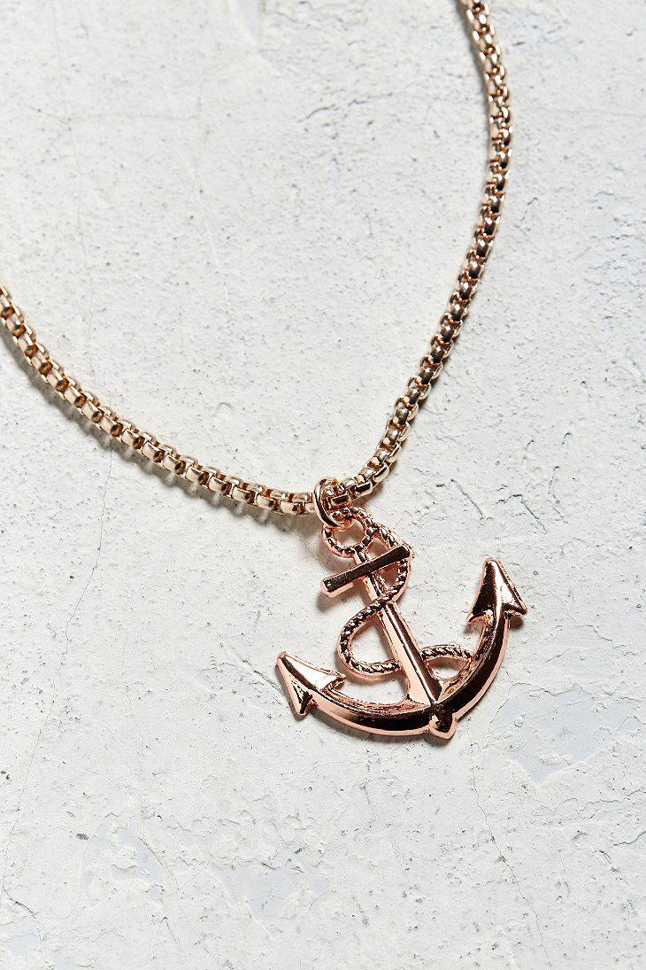 Lyst urban outfitters uo gold anchor pendant necklace in metallic gallery aloadofball Image collections