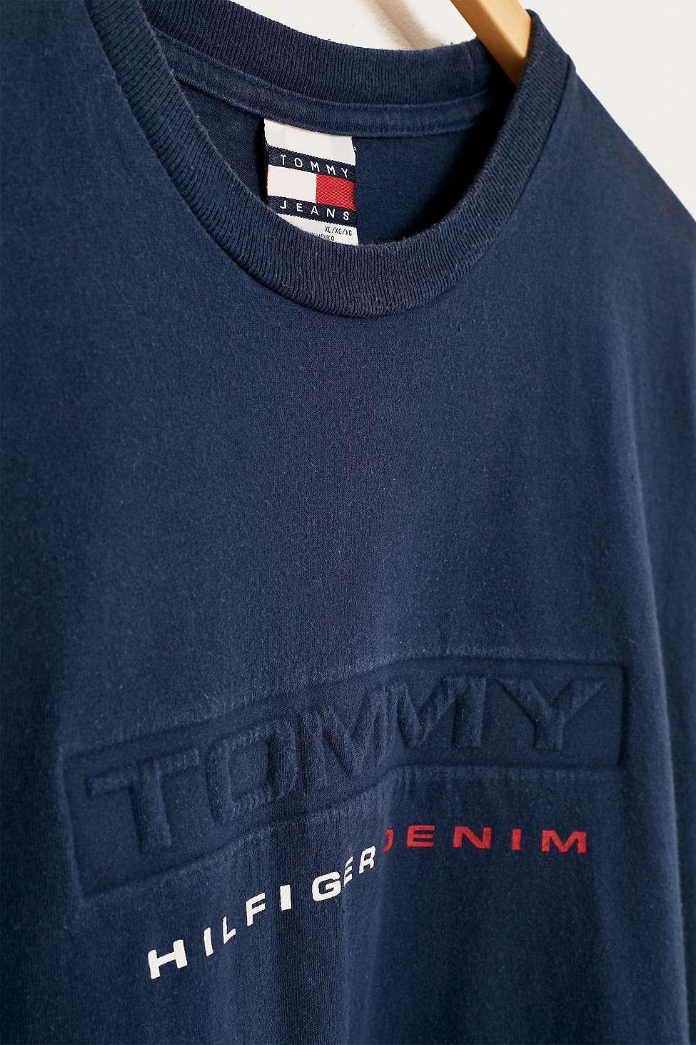 7e1a8beb Urban Renewal Vintage One-of-a-kind Tommy Hilfiger Navy T-shirt ...