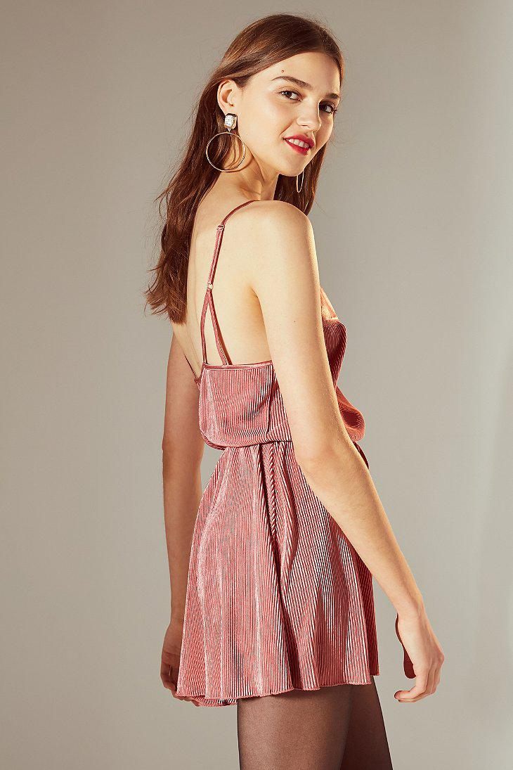 c723073cdfc8 Lyst - Urban Outfitters Uo Bette Pleated Fit + Flare Romper in Purple