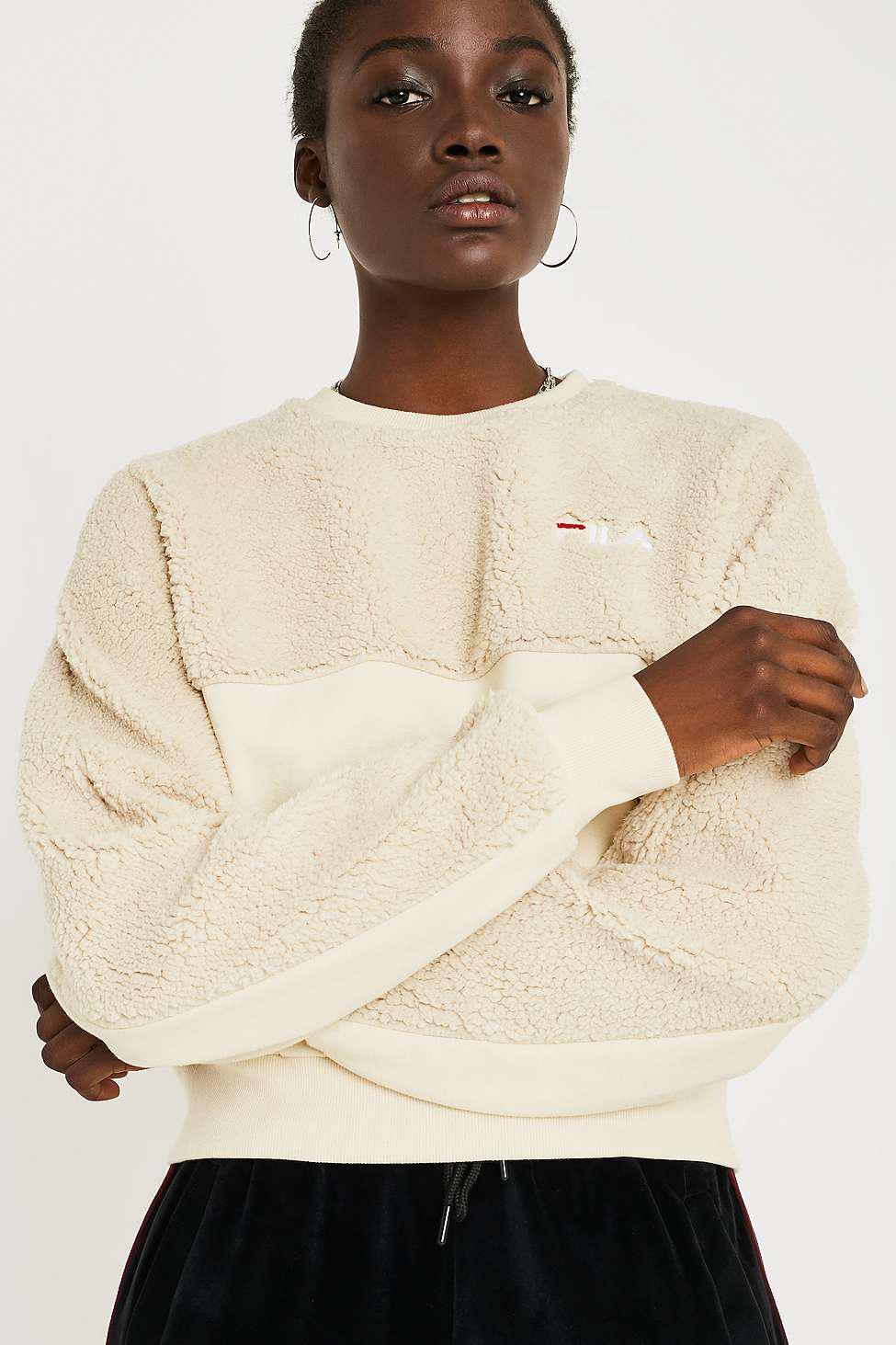 bfbd7cf5c1a Fila Cia Cream Fleece Crew Neck Sweatshirt - Womens Xs in White - Lyst
