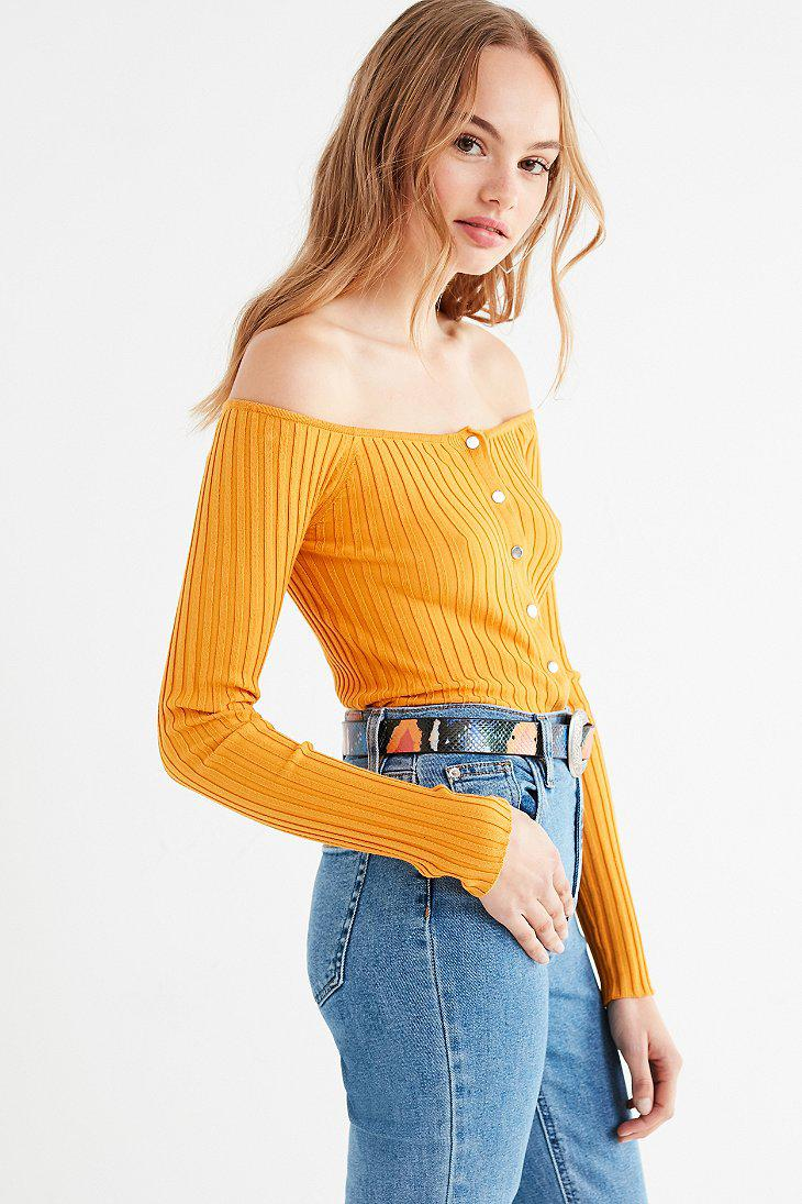 Urban Outfitters Uo Brigitte Button-down Off-the-shoulder ...