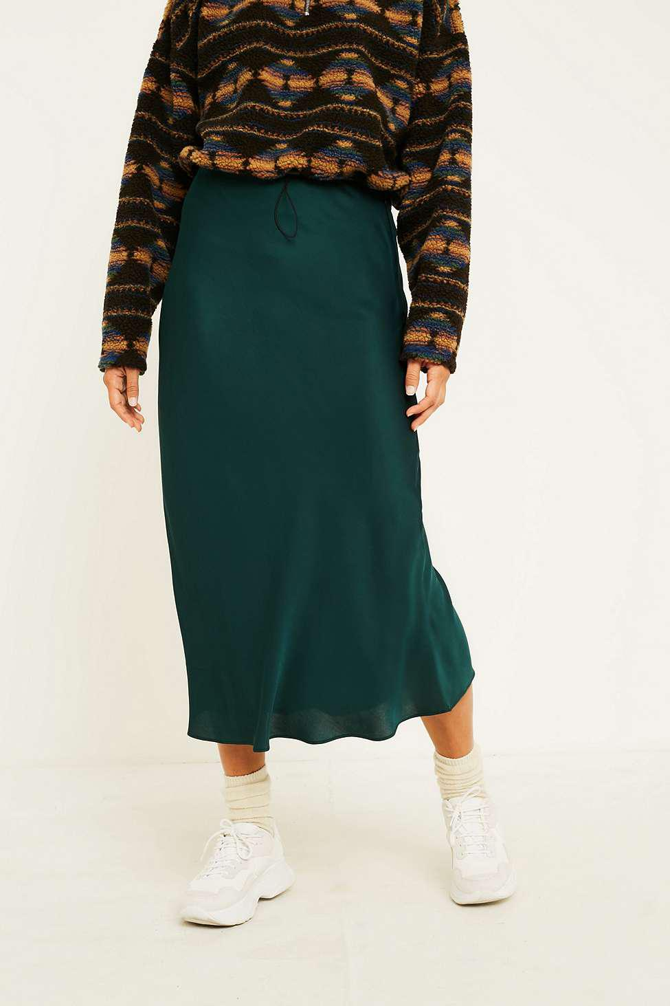 91d745c7b63 Midi Green Satin Skirt | Saddha