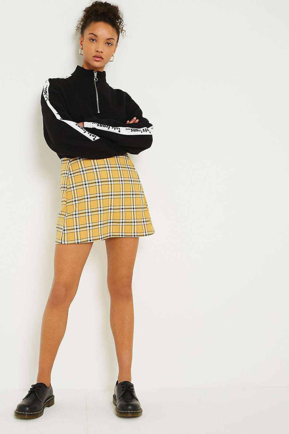 ff50f80a7 Urban Outfitters Uo Mustard Yellow Checked Pelmet Skirt - Womens Xs ...