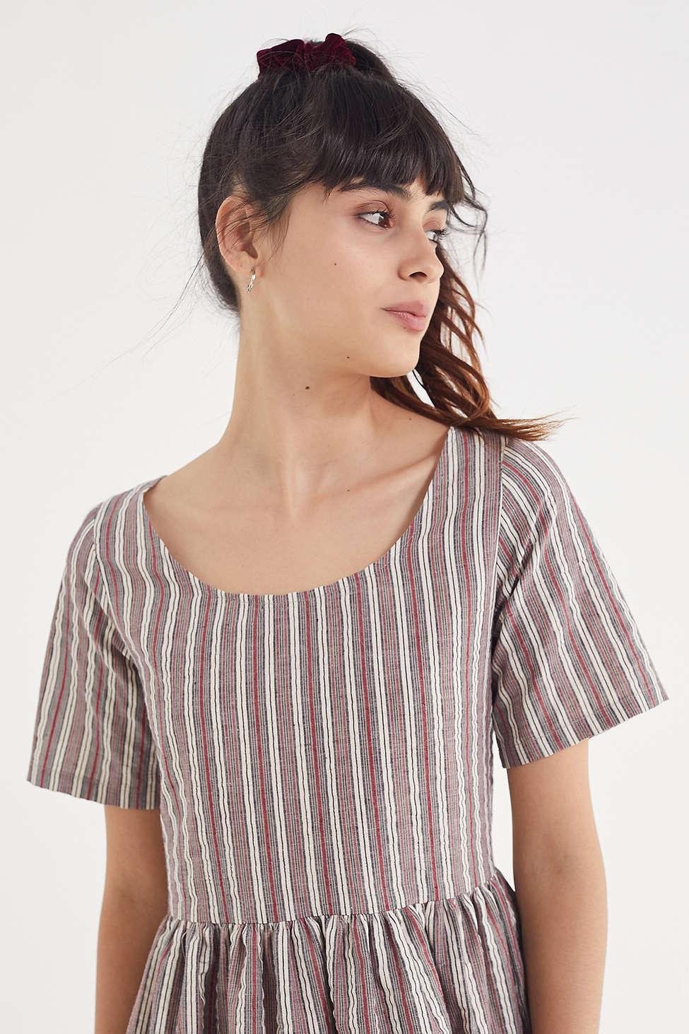3ef7090db20bd Urban Renewal Remnants Striped Seersucker Babydoll Dress in Natural ...
