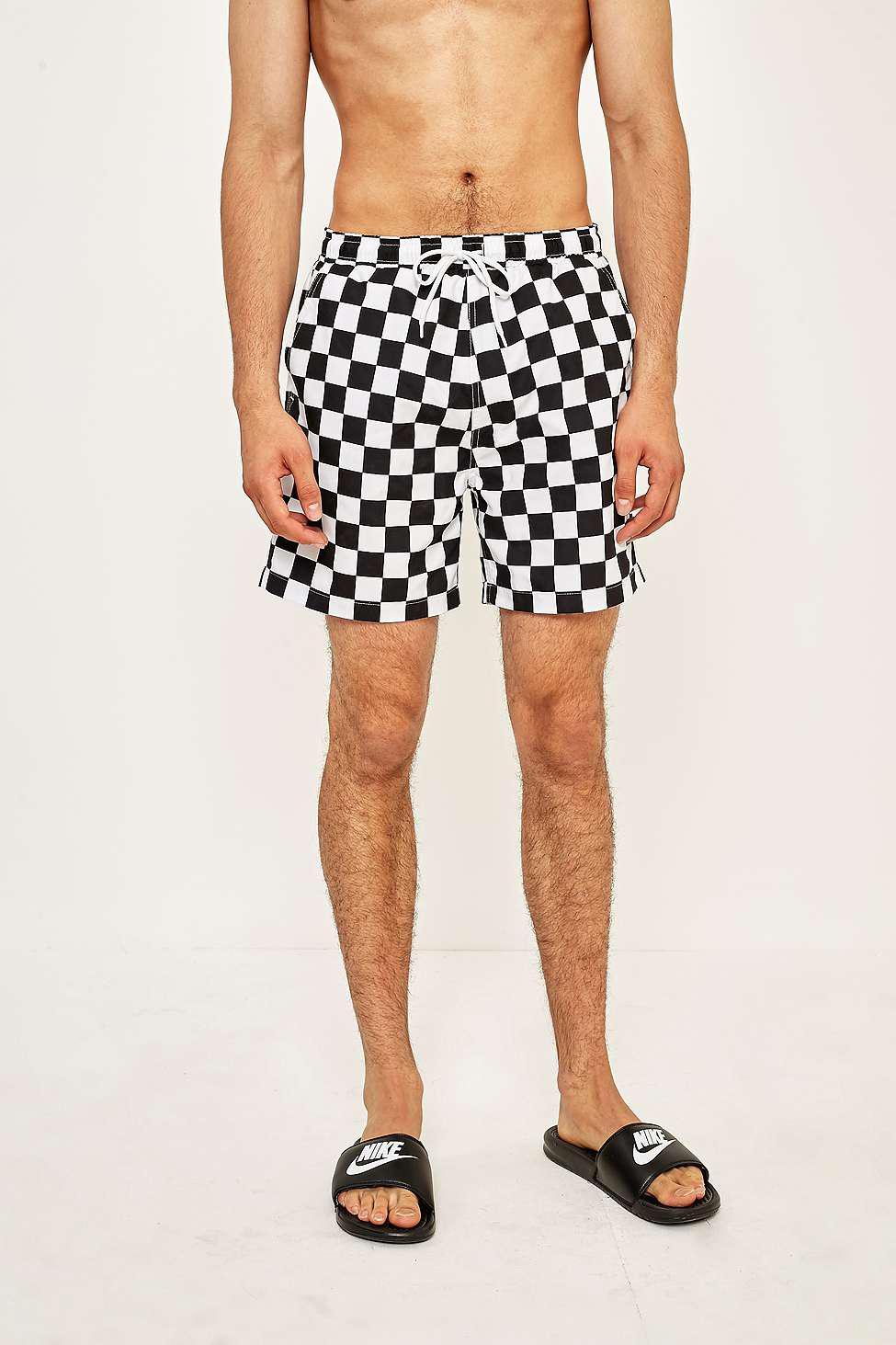 cdc8c11147 Urban Outfitters Uo Swim Black And White Checkerboard Swim Shorts ...