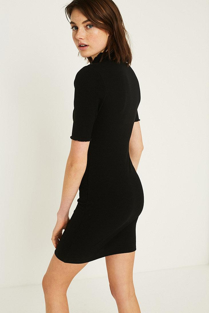 53d16d4c90a9 Urban Outfitters Uo Shelly Lettuce-edge Turtleneck Dress in Black - Lyst