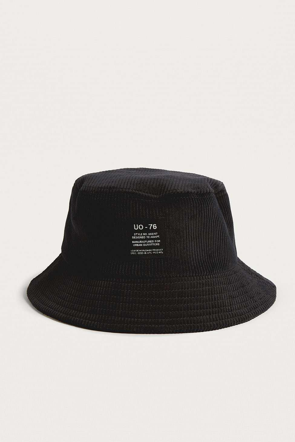 2602a7e6cfb Urban Outfitters Uo Black Corduroy Bucket Hat - Mens All in Black ...
