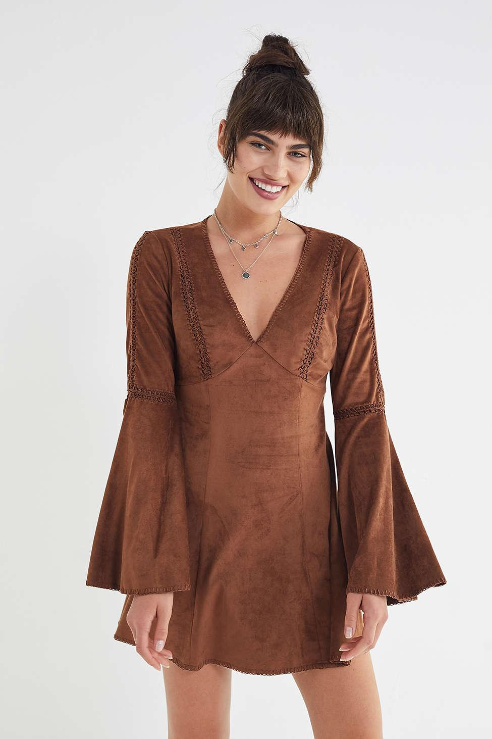 6328ca3b1160 Lyst - Urban Outfitters Uo Linette Faux Suede Bell-sleeve Dress in Brown