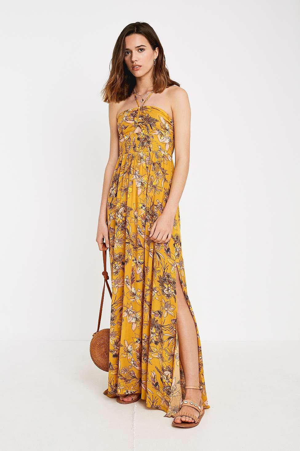 c0660d709b Free People One Step Ahead Yellow Floral Maxi Dress - Womens S in ...