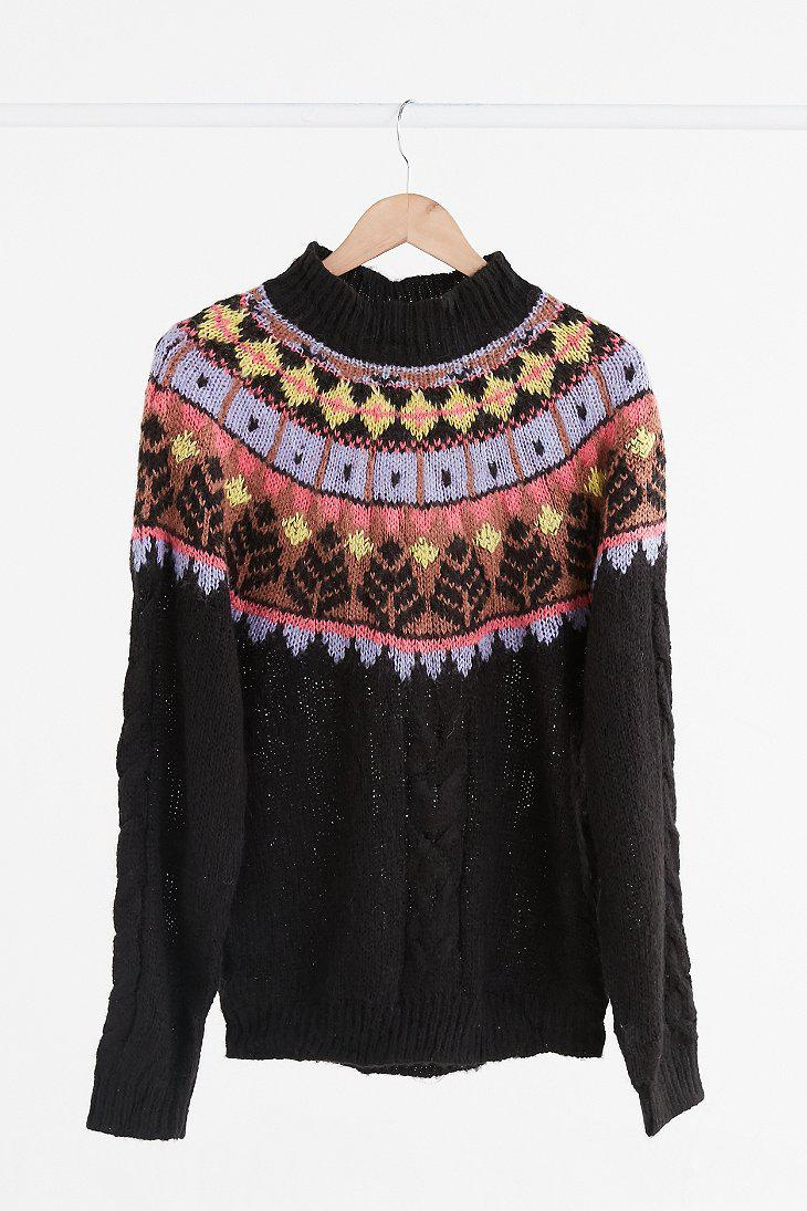 Urban outfitters Vintage Black   Pastel Fair Isle Ski Sweater in ...