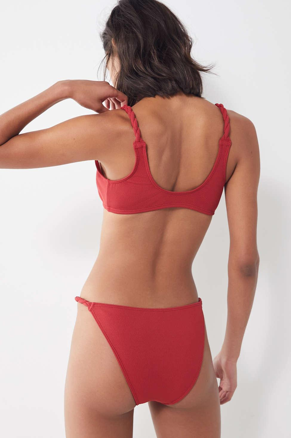 e0486ad0a8eef Out From Under - Red Wynona Ribbed Knot-front Bikini Top - Lyst. View  fullscreen