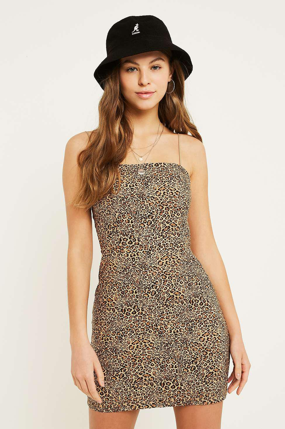 4dd91a42d6b Urban Outfitters Uo Colette Leopard Print Stretch Linen Mini Dress ...