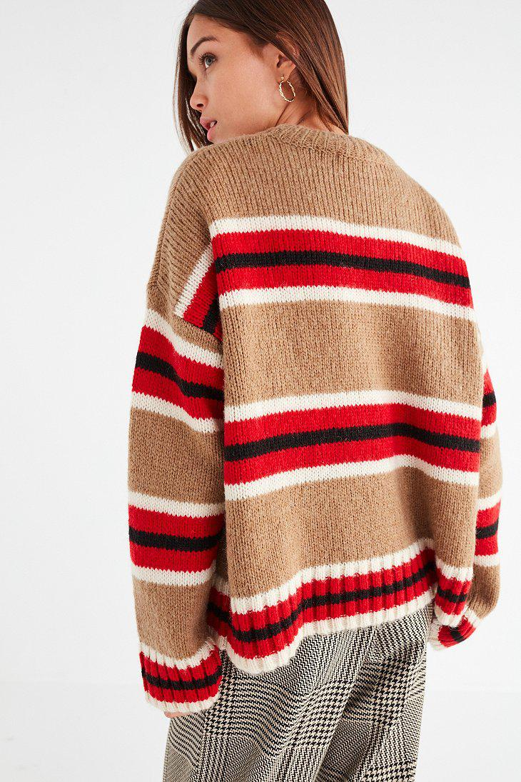 Urban outfitters Uo Oversized Striped Boyfriend Sweater in Red | Lyst