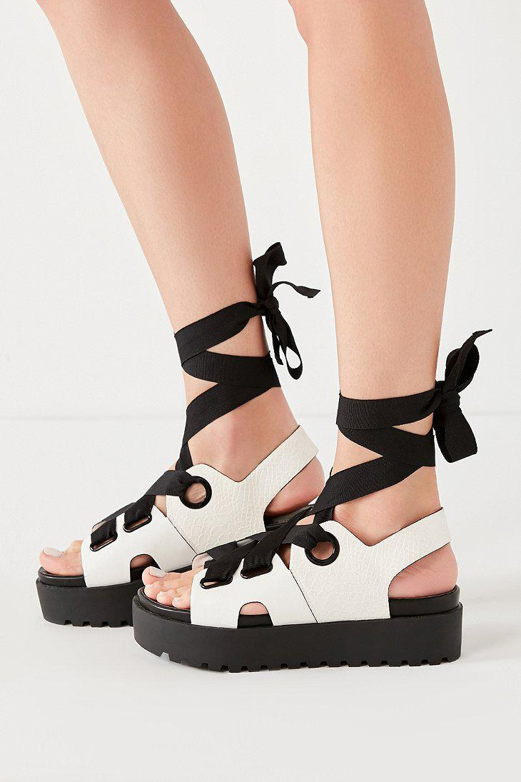 e4760da2c94 Lyst - Urban Outfitters Cameron Ribbon Lace-up Platform Sandal in Black