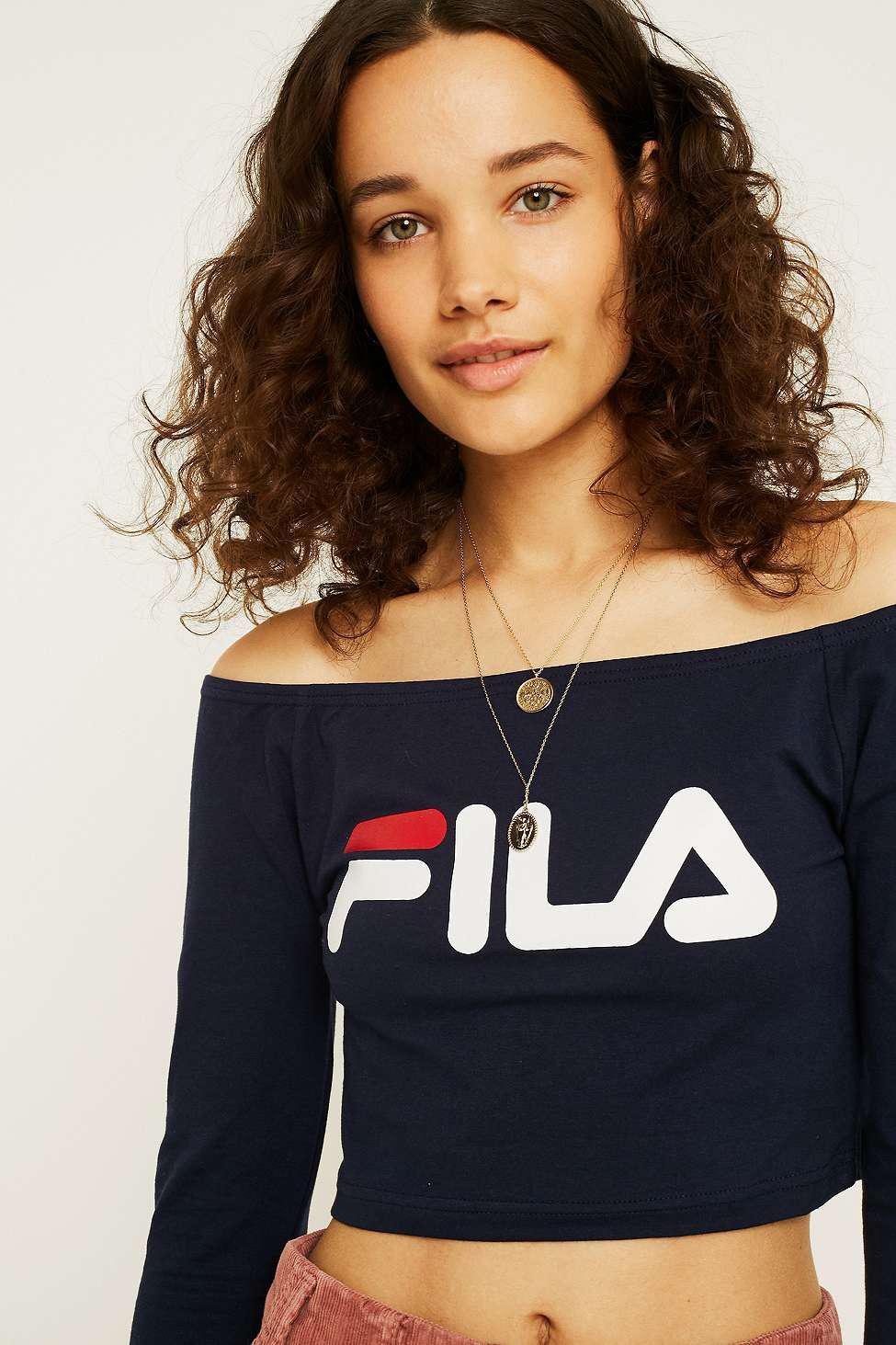 3253cf67edc004 Fila Sylvie Navy Long-sleeve Bardot Top in Blue - Lyst