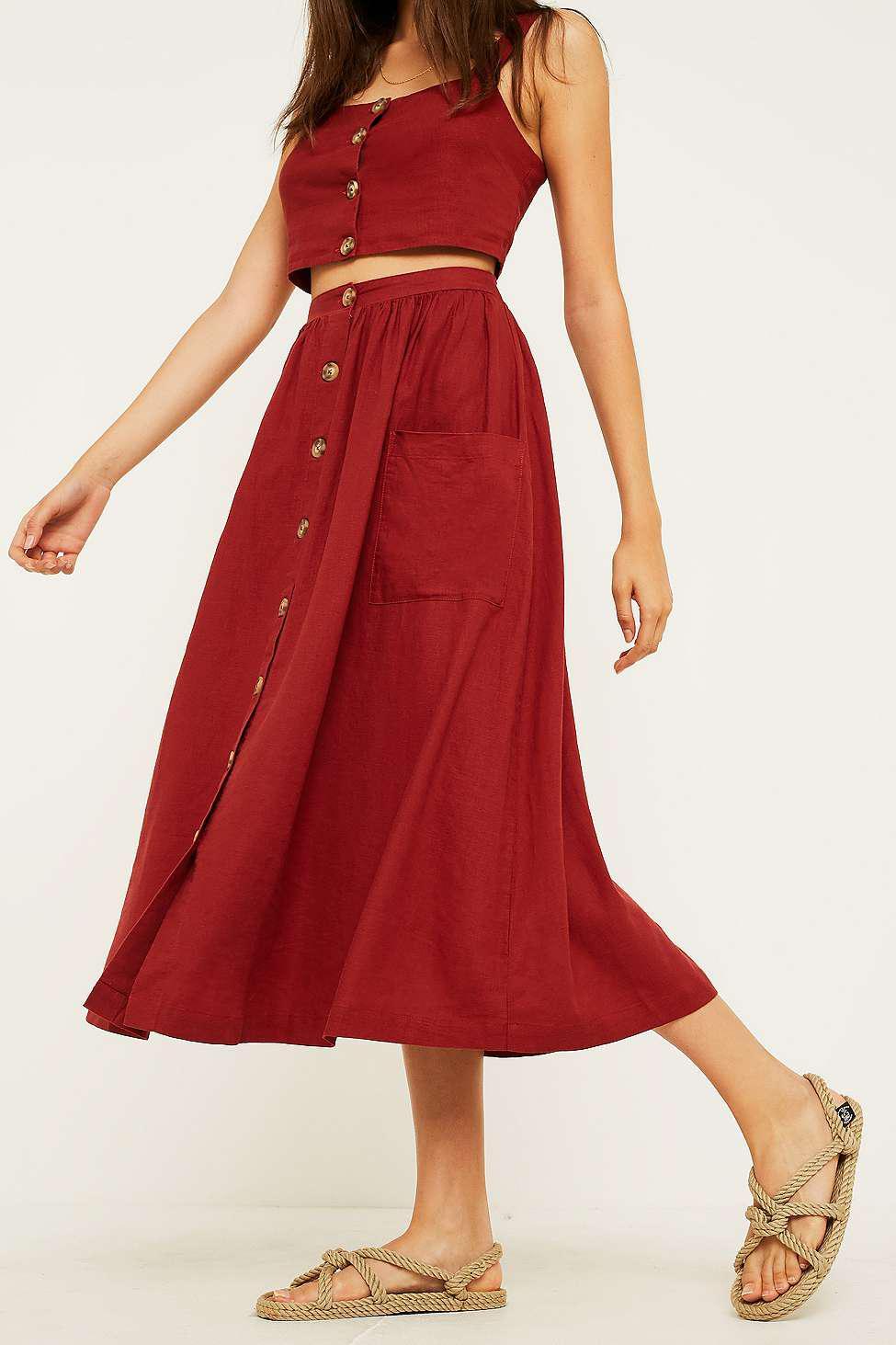 6e0869d8d0 Uo Emilia Rust Button Through Midi Skirt | Huston Fislar Photography