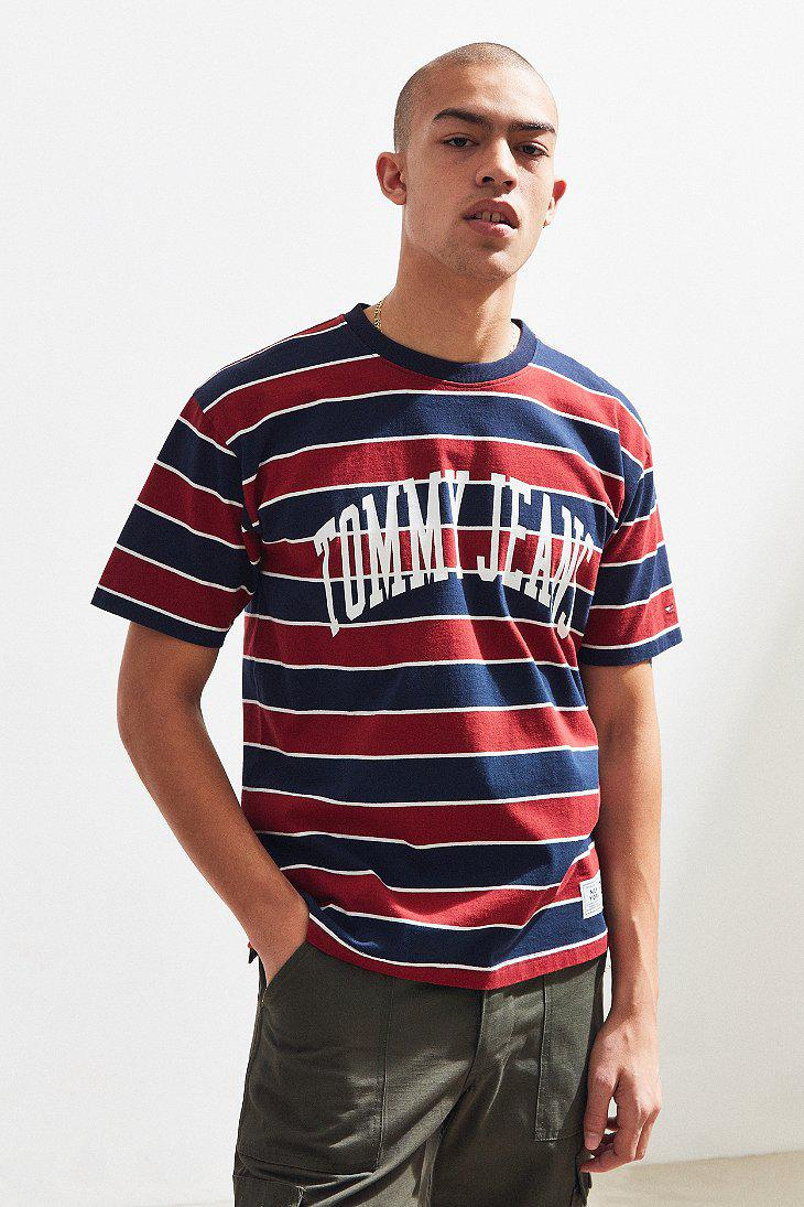3a6618e3 Tommy Hilfiger Tommy Jeans Collegiate Stripe Tee for Men - Lyst