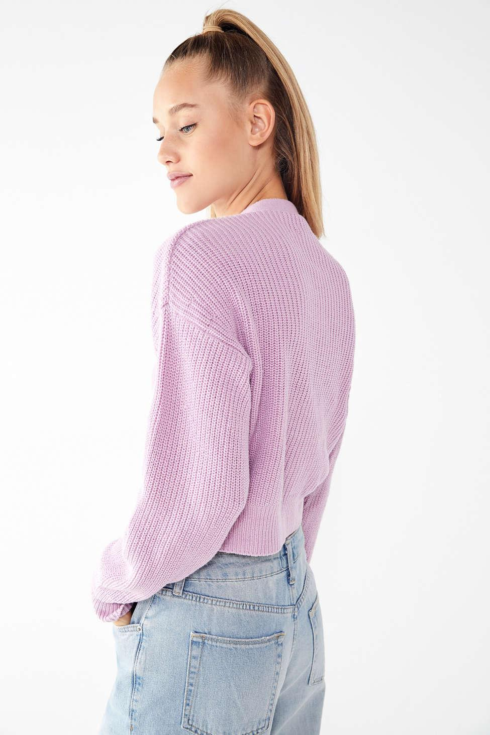 2957a3e5672c2 Lyst - Urban Outfitters Uo Kai Cropped Cardigan in Purple