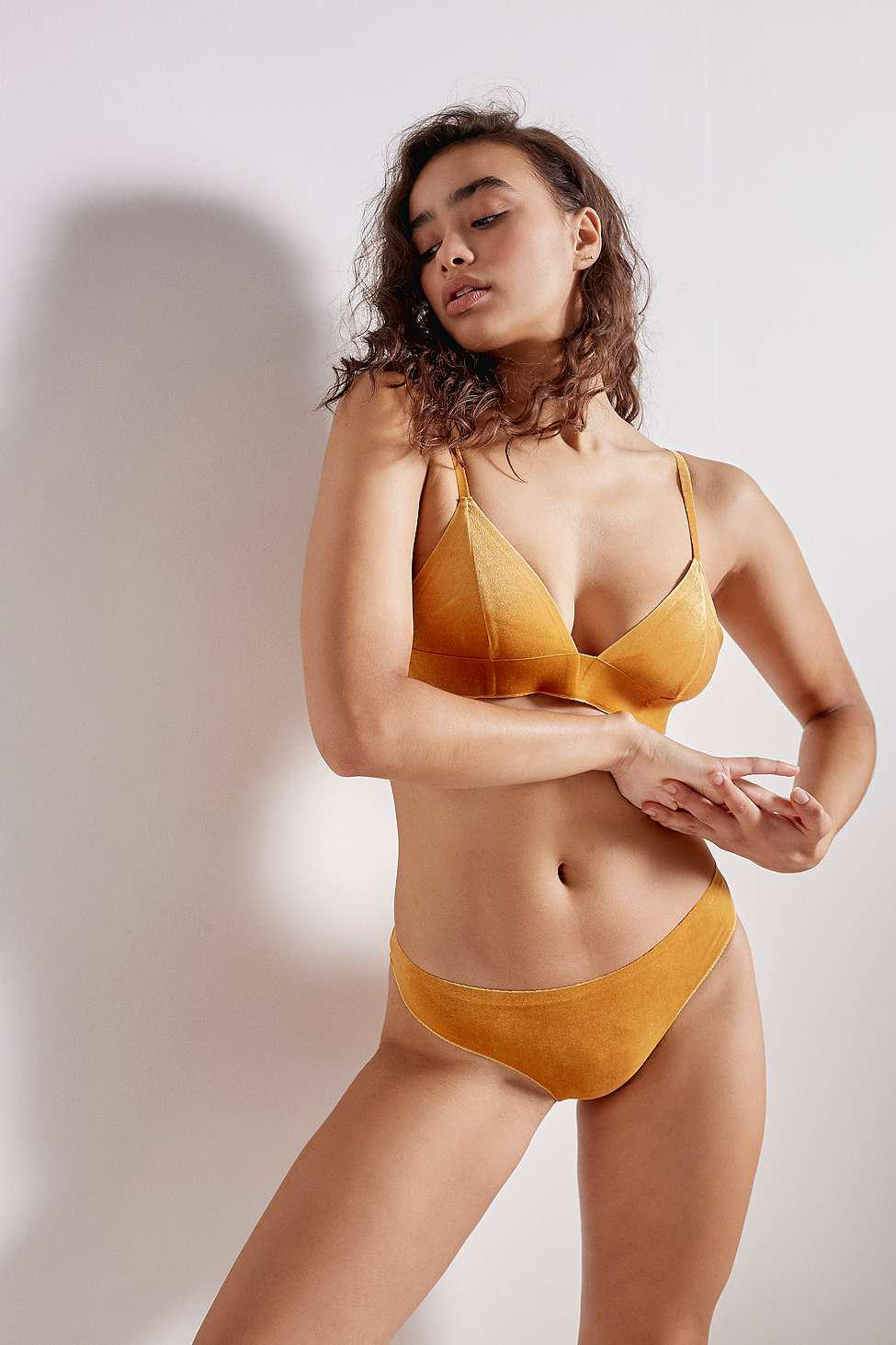 af1f65c302326 Out From Under Fusion Velvet Triangle Bralette in Yellow - Lyst