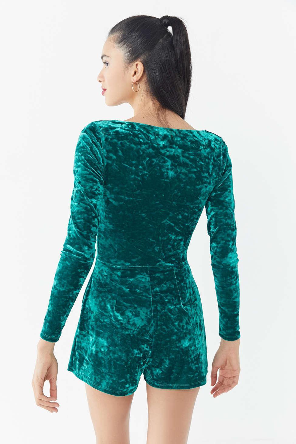 5e695c535759 Urban Outfitters - Green Uo Sasha Crushed Velvet Romper - Lyst. View  fullscreen