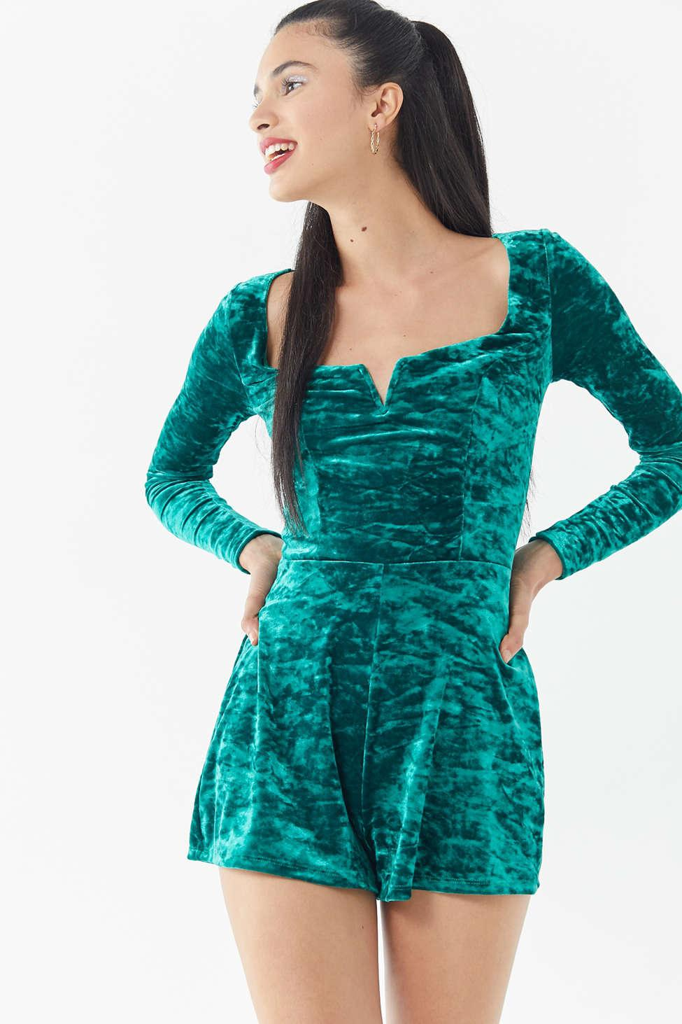 331b017b6ce Urban Outfitters - Green Uo Sasha Crushed Velvet Romper - Lyst. View  fullscreen