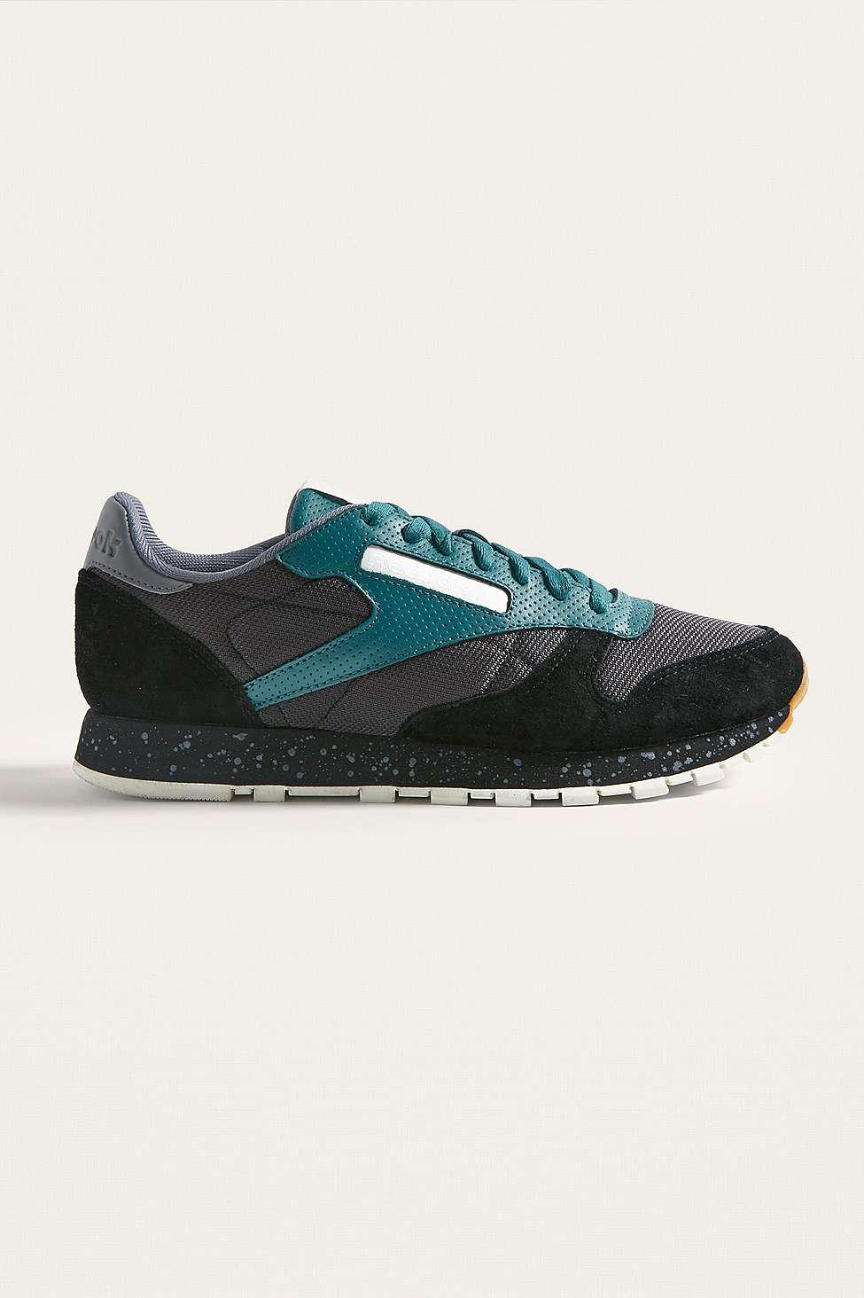 6bb76c2962a536 Reebok Classic Leather Sm Black And Teal Trainers - Mens Uk 12 in ...