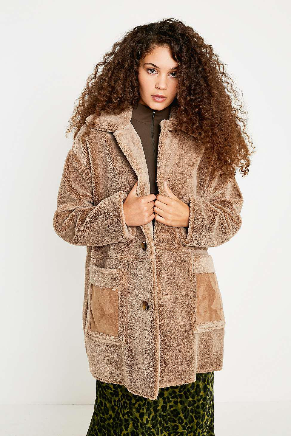 15228b7d2 Urban Outfitters Uo Faux Shearling Coat - Womens S in Natural - Lyst