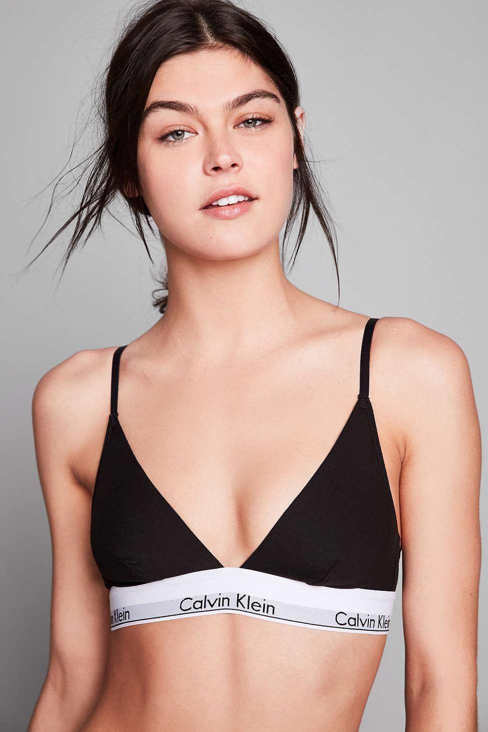 2f485706f17828 Calvin Klein - Modern Cotton Black Triangle Bra - Womens Xs - Lyst. View  fullscreen