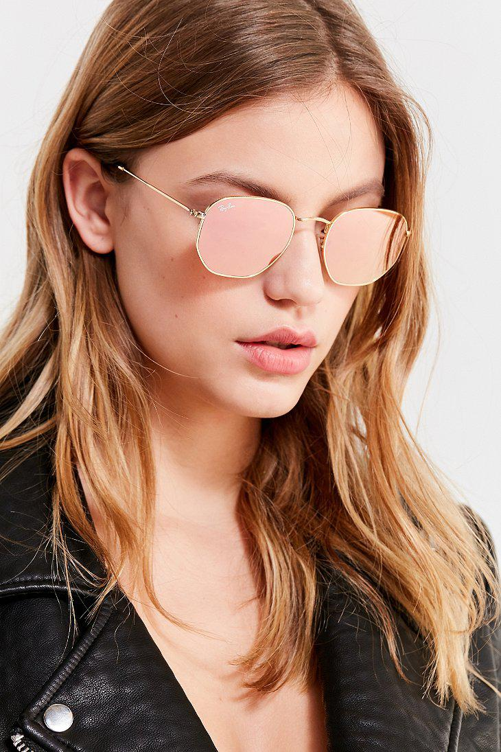 Lyst - Ray-Ban Ray-ban Hexagonal Flat Lens Gold Sunglasses in Metallic ced266bc03ad