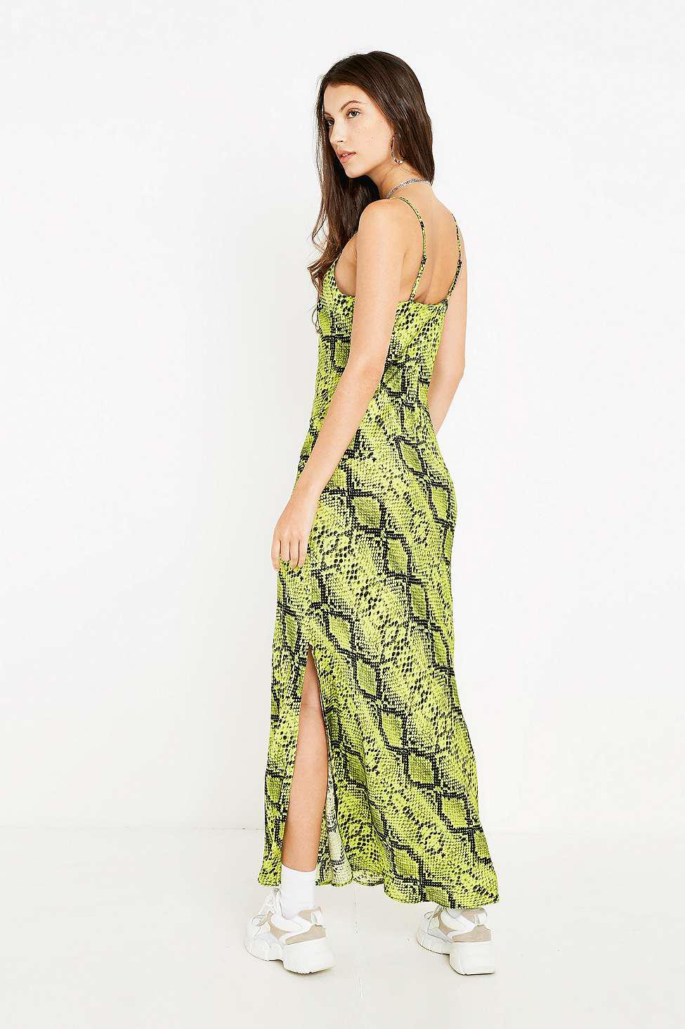 53816ebe162c Urban Outfitters Uo Lime Green Snake Print Slip Dress - Womens Xs in ...
