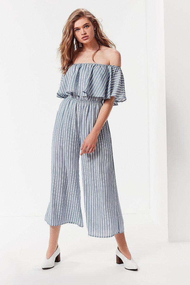 Lyst Urban Outfitters Uo Off The Shoulder Ruffle Striped Jumpsuit